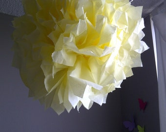 1 Yellow Tissue Paper Pom Pom