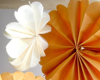 tissue paper pom poms...50 pom wheels...pom medallion...pick your color