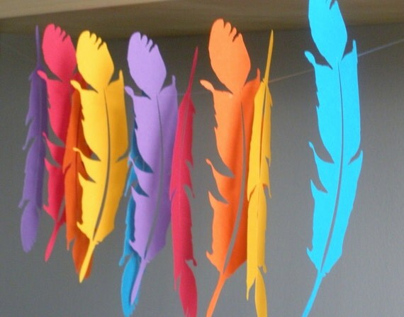 Feather Garland...3d Feathers...3d Feather Wall Art...Choose your colors, Nursery Decorations