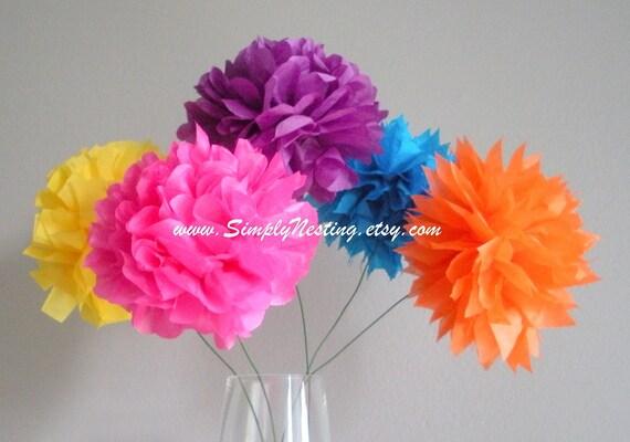 paper pom poms...pom flowers...long stemmed...pick your colors...set of 5