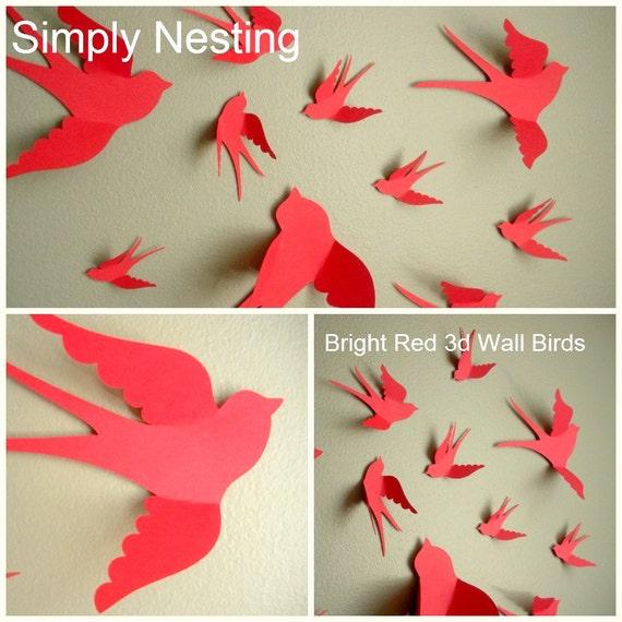 3d Paper Wall Birds, 3d Wall Art, Nursery Wall Art, Whimsical ...