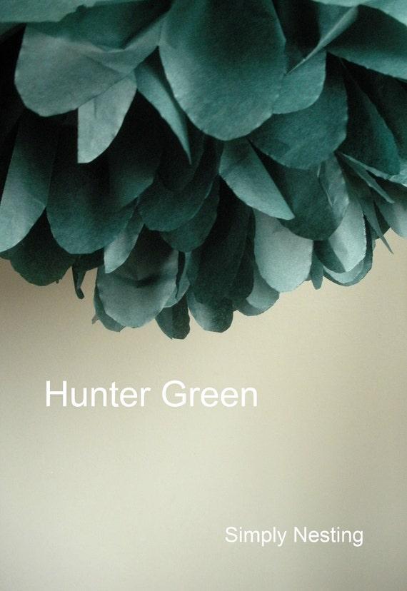 1 Hunter Green Tissue Paper Pom Pom