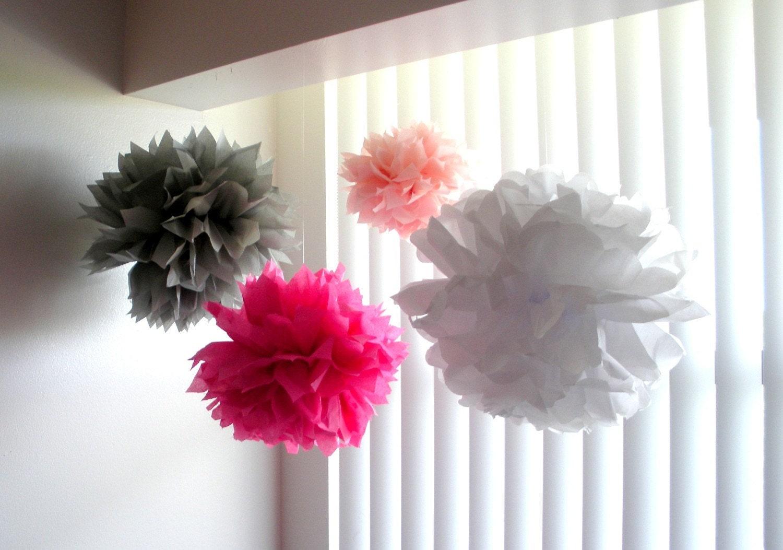4 tissue paper pom poms nursery pom poms baby shower decor for Pom pom room decor