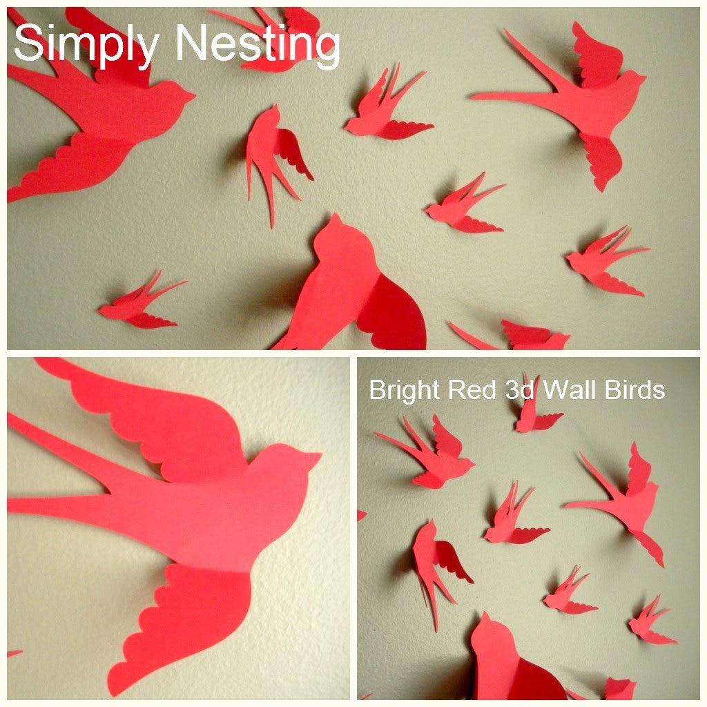 3d Wall Decor Birds : D paper wall birds art nursery whimsical
