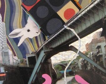 Rabbit on the Bridge - 5x7 Art Print of Original Photograph Collage Signed Blue Pink Wall Décor