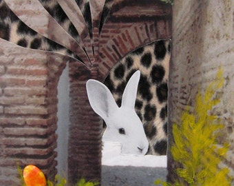 Rabbit is Waiting - 5x7 Art Print of Original Photograph Collage Signed Leopard Brown Wall Décor