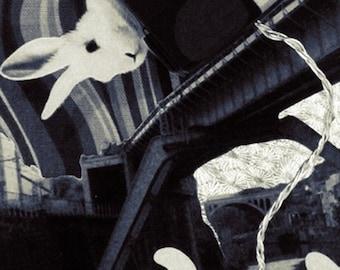 Rabbit on the Bridge Black & White - 5x7 Art Print of Original Photograph Collage Signed Wall Décor