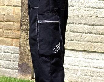 Mens Pants-Cargo Pants-Adjustable Waist-Menswear-Loose Fit-Mens Shorts-Black