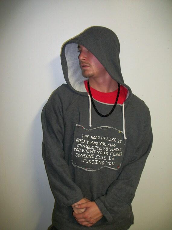 Mens Sweatshirt - Hoodie- Loose Fit Womens-Reversable Graphic