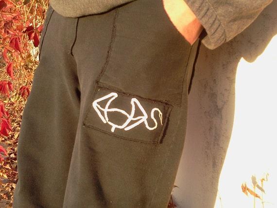 Mens Pants-Adjustable Waist-Mens Pajamas-Cotton-Black-Loose Fit For Women