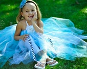 Turquoise Flower Girl Tutu Halter Dress-For Jamie size 2 T