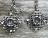 Antique Typewriter Key Necklace Letters E,K,M,N,and T