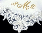 Gold Wedding Mother of the Bride Hankie Embroidered Personalized in Linen
