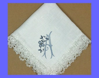 Embroidered Wedding Hankie with Shamrock Venice Lace Personalized IVORY Cotton - 9202