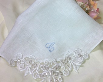 Personalized Linen Couture Wedding Handkerchief - Embroidered Wedding Hankerchief - Custom Made Bridal Hanky for Brides Something Blue