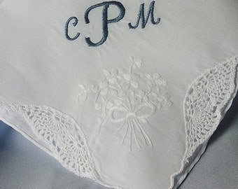 Personalized Wedding Handkerchief | Bride Something Blue | Embroidered Wedding Hankerchief Monogrammed Hanky