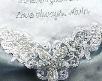 Gift for Mother of the Groom Wedding Handkerchief | Hankerchief for Mom | Personalized Wedding Hanky 9201C