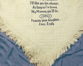 Mother of the Bride Gift Embroidered Cotton Throw Personalized Personalized for Mom Wedding Gift by Li'l Inspirations