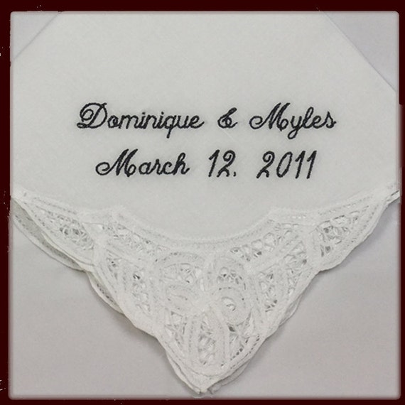 Lace Wedding Handkerchief for Bride | Personalized Hanky for Bride Gift for Bride