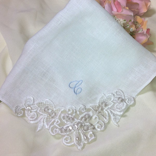 Personalized Linen Couture Wedding Handkerchief Embroidered