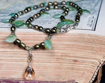 Champagne Swarovski Crystal Pendant with Leaf Beads and Olive Pearls Necklace