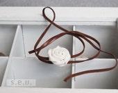 Silk Rose, Leather Tie Bracelet