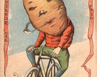 "Vegetable People Potato Riding a Bicycle 8 x 12"" Print"