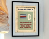 Letter C - Yes - Vintage International Code Flag - Buy 3 get the 4th free