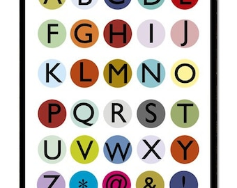 Alphabet Print Kids Room Decor Black and White Customize your Modernist Dot Alphabet art print with color Spots or Letters -  Giclee Poster