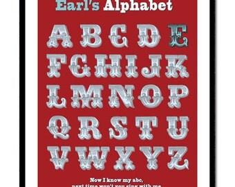 Alphabet Print Kids Room Decor, Nursery Decor Print Personalised Childrens Alphabet Art Print in Vintage Letters Giclee Print