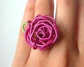 Paperclip Rose Ring - Metallic Pink