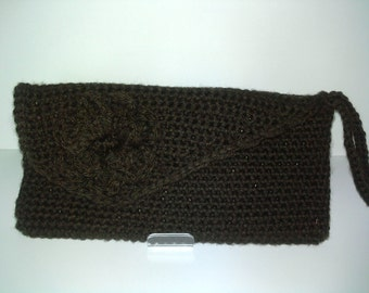 Crochet Chocolate Clutch Purse
