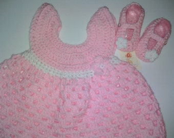 Crochet Baby Dress & Booties Set