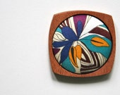 Wooden Brooch / Pendant - Liberty of London and Mahogany - Teal Chocolate Brown Navy Yellow