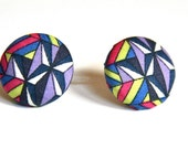 New Geometric Bright Ear Studs (Earrings) - Liberty of London  - Pink Purple Black White Acid Yellow