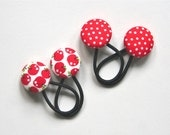 Red and White Hair Tie Set - Mini Pair for Babies Toddlers Blythe dolls or Plaits - Red Spot and Kawaii Apples