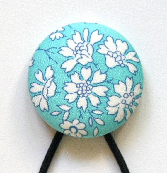 Super Large Hair Tie - Aqua Blue Capel T Liberty of London - Pretty Floral