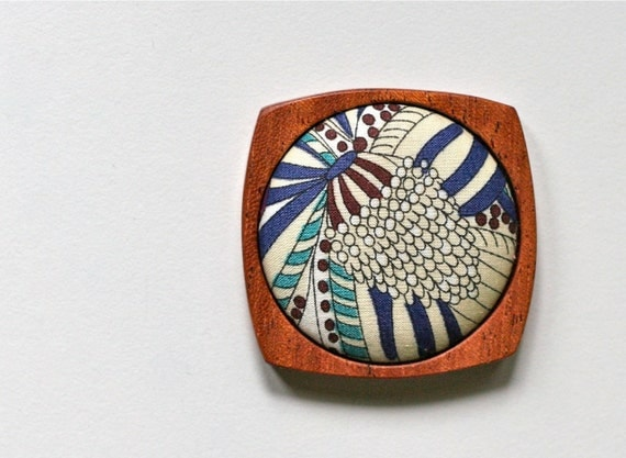 Wooden Brooch / Pendant - Liberty of London and Mahogany - Teal Chocolate Brown Navy Cream