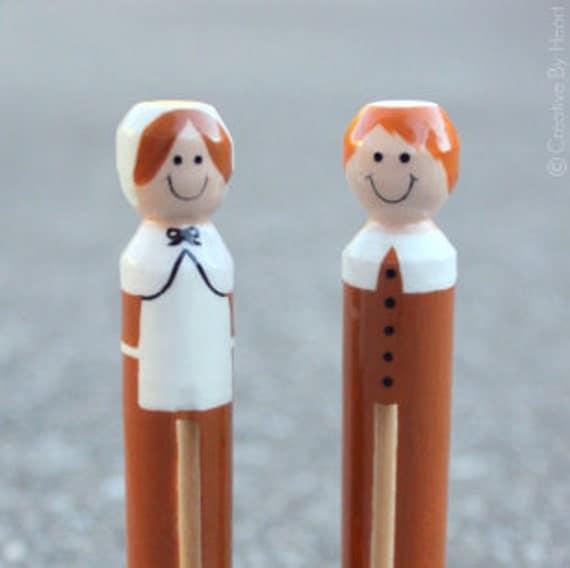 Thanksgiving Pilgrim Clothespin Dolls - Set of 2