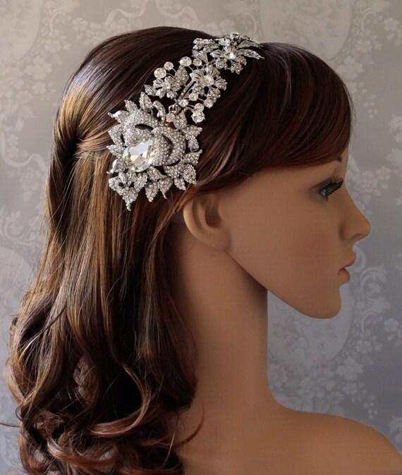 Jeweled English Rose Cascading Crystal Headband