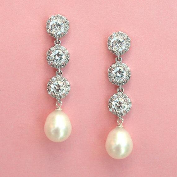 FREE SHIPPING - Pearl Drop Wedding Earrings