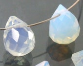 SALE Natural, Opalescent,  Moonstone, 10x15mm, Faceted Drop, 2 Pieces