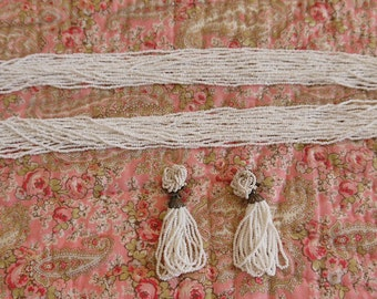 SALE  Vintage White Seed Bead Necklace and Earrings