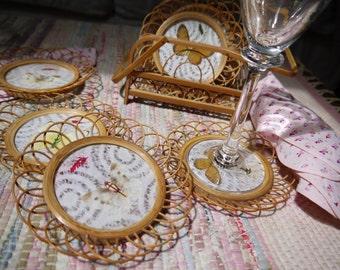 Vintage Wicker Rattan Coasters Butterflies Holder Silk Ribbon