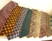 ten vintage mens retro 100% silk ties