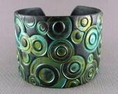 Silver Cuff Bracelet Polymer Clay Jewelry Teal Cuff Turquoise Cuff Urban Industrial Wide Cuff Hand Stamped