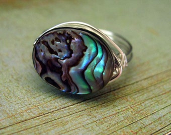 Wire Wrapped Ring Abalone Ring Nickel Free Ring Wire Wrapped Jewelry Paua Abalone Jewelry Silver Wire Wrap
