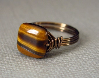 Tiger Eye Ring Wire Wrapped Brass Semiprecious Stone Brass Ring Wire Wrapped Jewelry