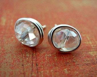 Wire Wrapped Earrings Tiny Stud Earrings Crystal Earrings Nickel Free Small Post Earrings Wire Wrapped Jewelry