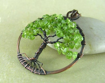 Tree Of Life Necklace Wire Wrapped Pendant Peridot And Copper Jewelry Wire Wrapped Jewelry Copper Necklace